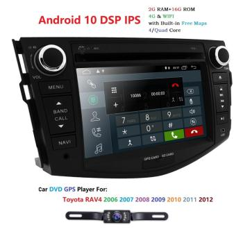 hizpo Android 10.0 DSP IPS Double Din Car Stereo Radio for Toyota RAV4 2006-2012 GPS Navigation DVD Player WiFi Mirrorlink OBD2 image