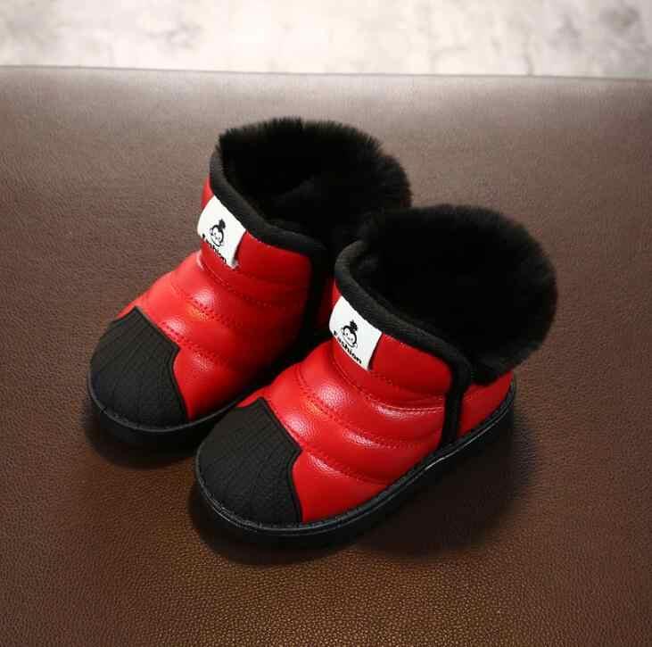 Boyutu 21-32 Çocuklar Kar Botları Sıcak Kalın Kürk Çocuk Ayakkabıları Unisex Erkek Kız Su Geçirmez yarım çizmeler Bebek Yürümeye Başlayan Kış çizmeler