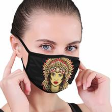 Beautiful Woman Native Of North America Unisex Dust Mask for Adult Kids Outdoor Sport Mouth Face Mask Washable Reusable(China)