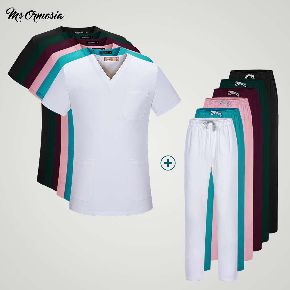 Women's Medical Uniforms Classic V-neck Scrub Tops Pure Cotton Doctor Clothing Nurse Uniform Surgical Clothing Tops And Pants