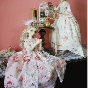 Image 4 - Bjd Roze Jurk Pop Lange Jurk + Hoed + Jurk Ondersteuning + Sokken Voor 1/6 1/4 1/3 Bjd Giant Baby pop Accessoires Een Pak Bjd Kleding