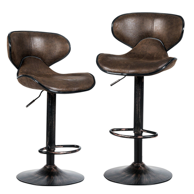 Set of 2 Adjustable Bar Stools Counter Height Chairs Unique Hot-stamping Cloth Seat Bar Chair 3