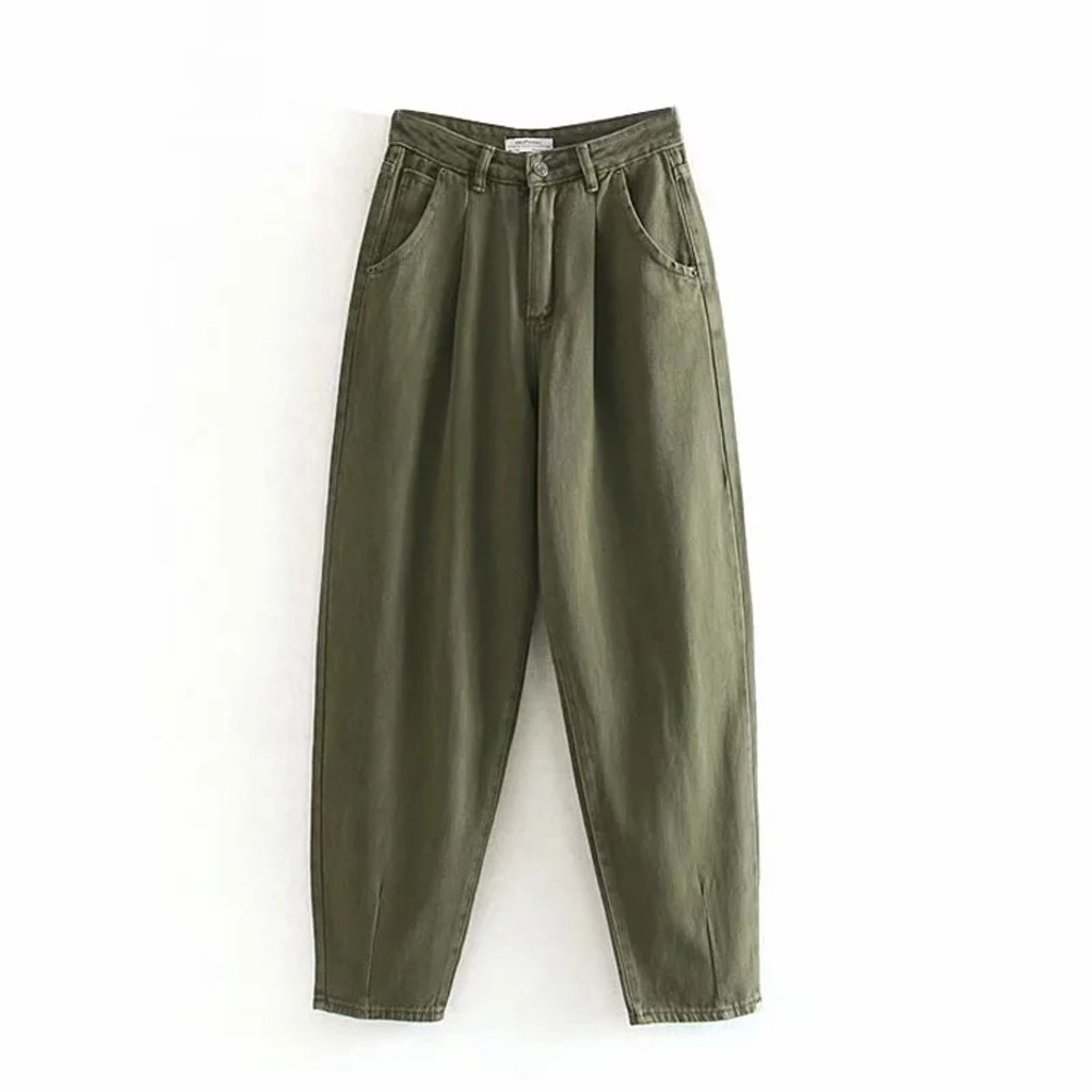 Spring Autumn Jeans High Waist Pocket Jeans Plus Size Femme Women Casual Solid Color Jeans Loose Harem Pants #35