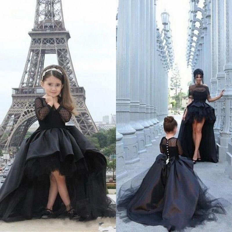 Modern Black Long Sleeves Prom Dresses For Mother And Daughter Formal Wear Hi Lo Girls Pageant Dress Evening Gowns