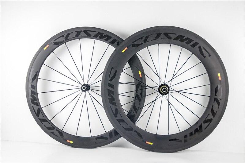 60 + 88mm Carbon Laufradsatz Rennrad Räder 700C 23mm breite Glänzend Aufkleber Matte Felge Bremse 3K UD Klammer Tubular Cosmic SLR XDB