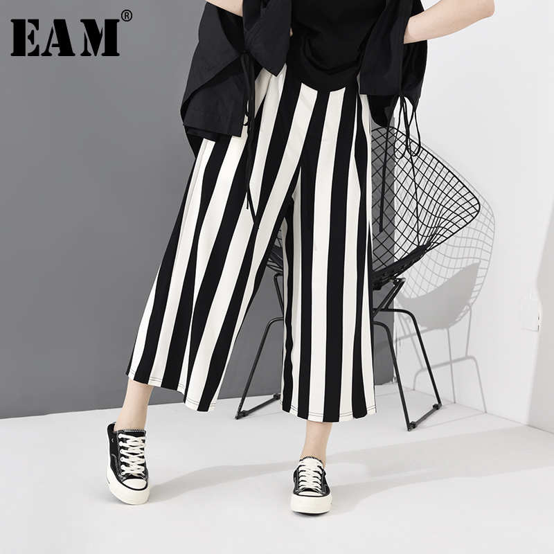 [EAM] High Elastic Waist Black Striped Long Wide Leg Trousers New Loose Fit Pants Women Fashion Tide Spring Autumn 2020  JH363