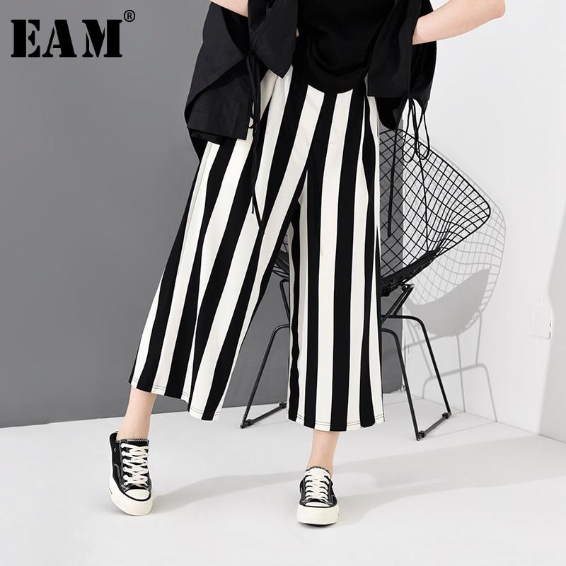 [EAM] High Elastic Waist Black Striped Long Wide Leg Trousers New Loose Fit Pants Women Fashion Tide Spring Autumn 2020  JH363