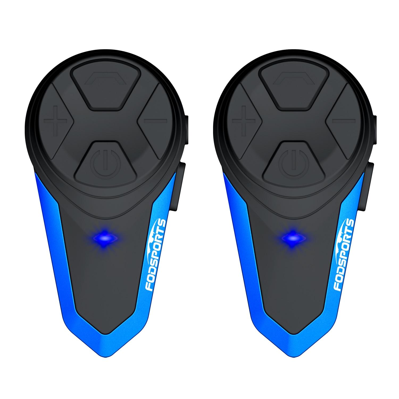 Fodsports 2 Pcs BT-S3 Motorcycle Helmet Intercom Moto Helmet Bluetooth Headset Waterproof Intercomunicador BT Interphone FM