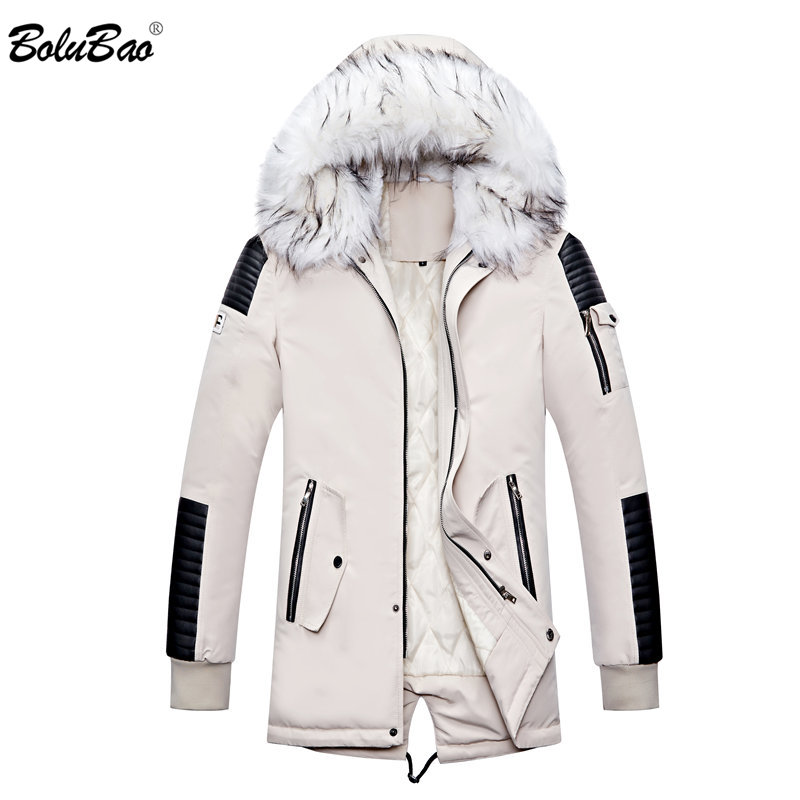 BOLUBAO Winter Brand New Men Parkas Men's Fashion Casual Thick Warm Parka Male Comfortable Fur Collar Hooded Parka Coat