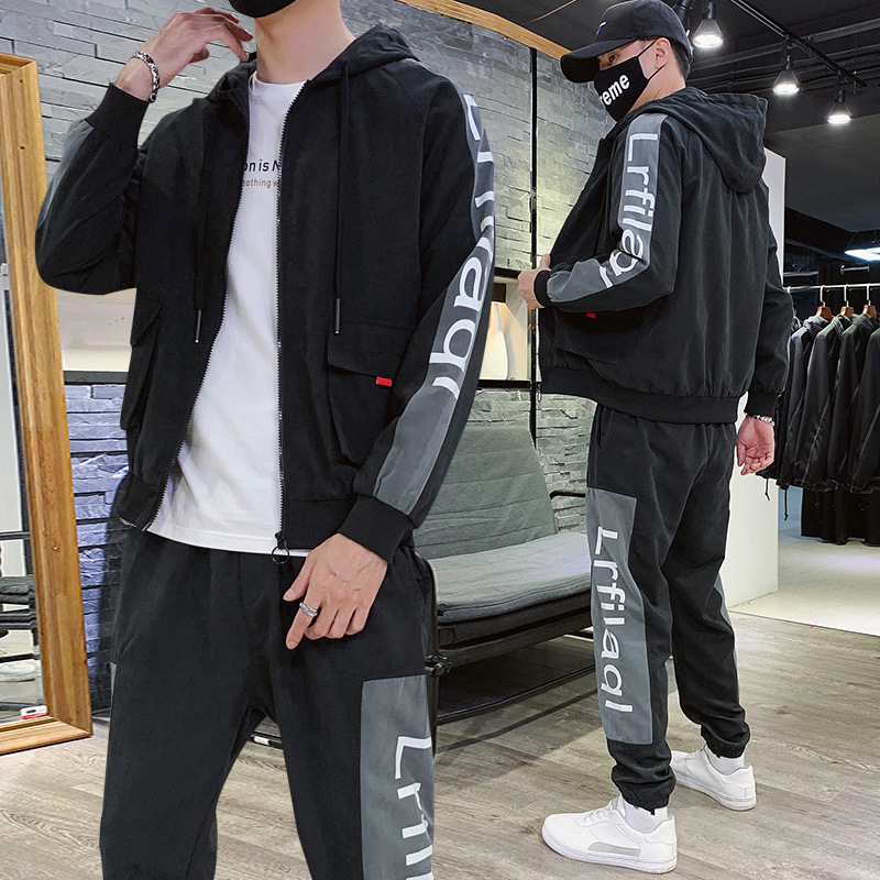2019 Autumn Clothing New Style Trend Workwear Handsome Coat Men's Spring And Autumn Trousers Sports Leisure Suit Long Sleeve Two