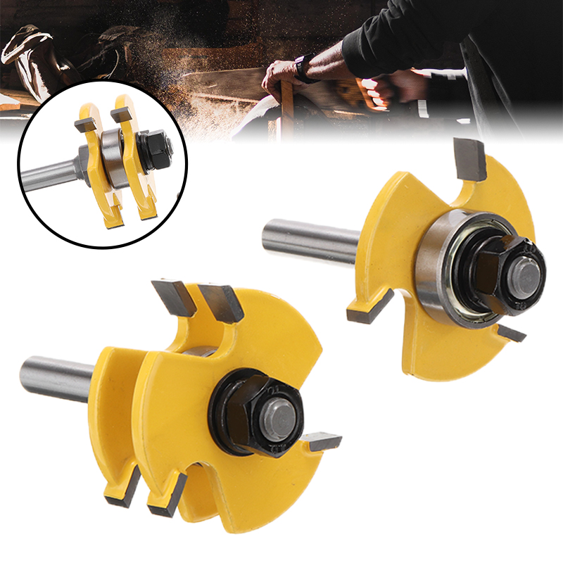 2pcs T-type 3-tooth Mortise Cutter 8mm Shank Tongue & Groove Router Bit Set Woodwoorking Grove Tool Parts