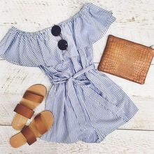 Popular Boat Neck Loose Rompers Polyester Short Sleeve Ruffle Jumpsuit Blue and White Stripe Women Romper