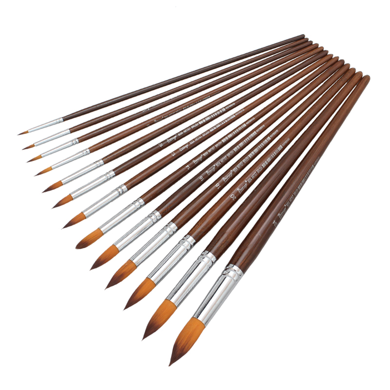 13Pcs Long Handle Round Shape Artist Acrylic Painting Brushes Set For School Watercolor Oil Painting Stationery Supplies