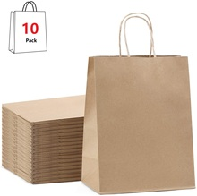 Gift Bags Kraft Paper Bag,Party Bags,Retail Bags,Shopping Bags,Brown Paper Bags with Handles 100% Recyclable Paper 10 pcs lot festival gift kraft bag hot pink shopping bags diy multifunction recyclable paper bag with handles 7 size optional