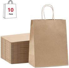 Torby na prezenty torby papierowe Kraft torby imprezowe torby detaliczne torby na zakupy brązowe torby papierowe z uchwytami 100 papier do recyklingu tanie tanio ysmile CN (pochodzenie) 10pcs Papier pakowy NPD-I
