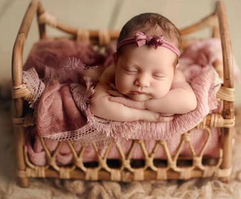 Newborn Photography Props Basket Baby Posing Sofa Bed Accessoire 100 Days infant Props Vintage Woven Rattan Basket  Shooting Pro