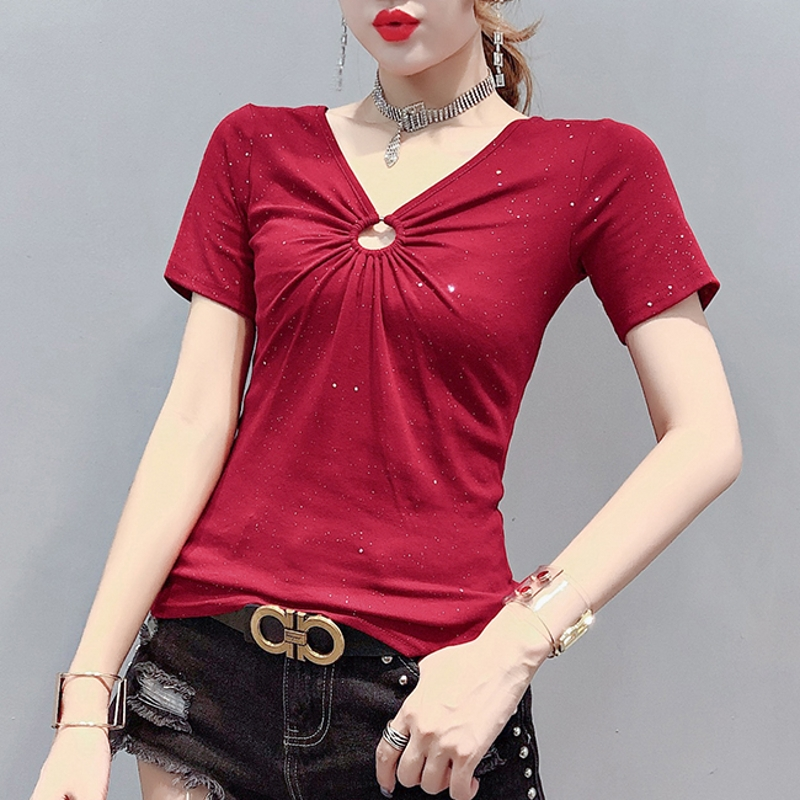 Korean Clothes Shiny Sexy Hollow Out Drape T-shirt Women 2020 New Summer Short Sleeve Tops Ropa Mujer Bottoming Shirt Tee T02410