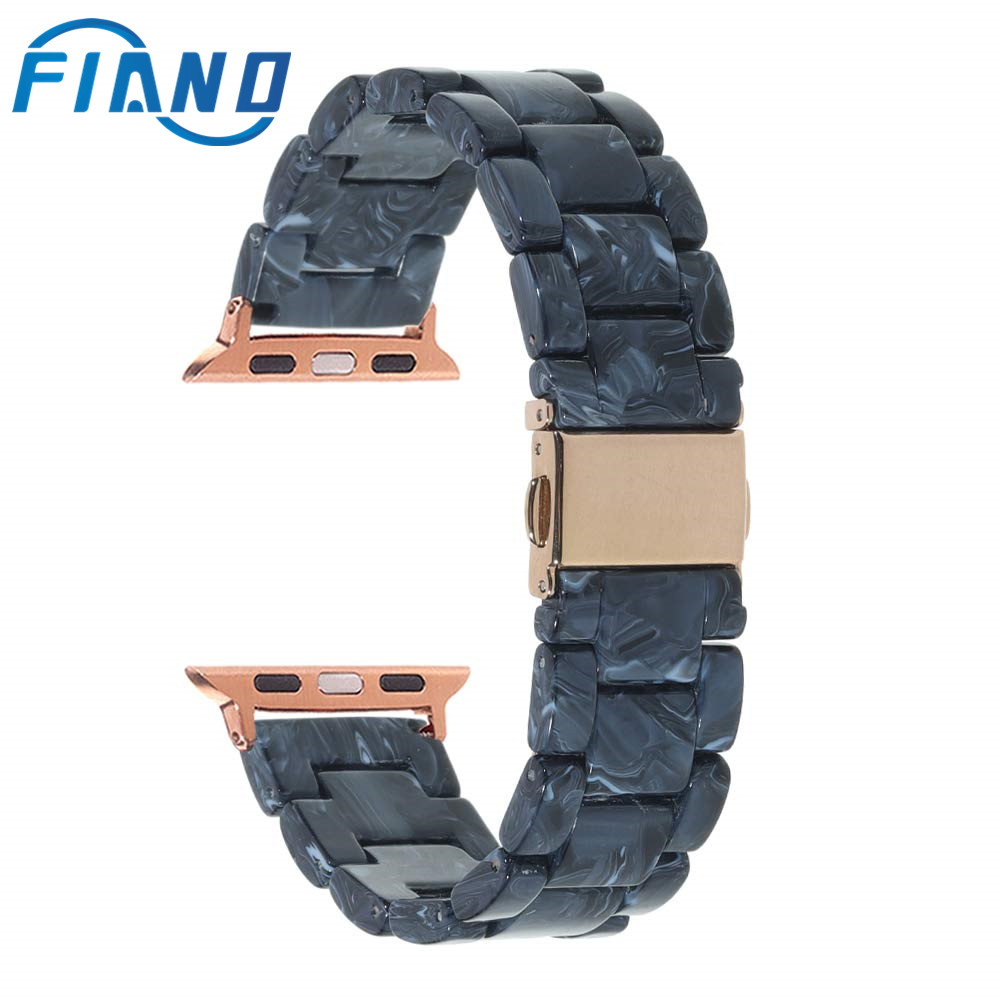 Fashion Imitation Ceramic Watch Band Resin Material Apple Wristband for Wristwatch 38/40/42/44mm Watchband Accessories