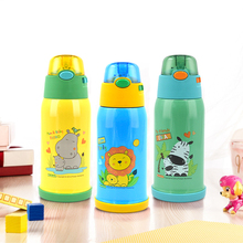 Children vacuum thermos 560ml double-wall 304 stainless steel with straw portable cute cartoon cup set Christmas gift
