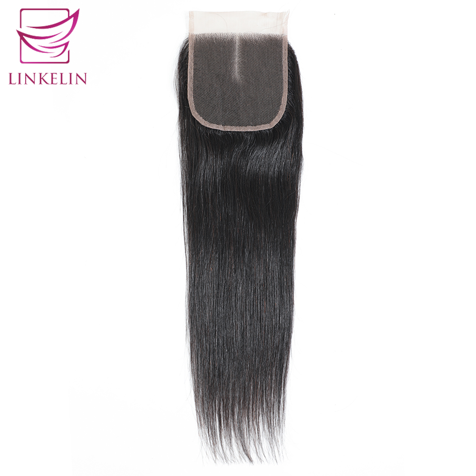 LINKELIN HAIR Peruvian Straight Hair Closure Middle/Free/Three Part Lace Closure Hand Tied Remy Human Hair Extension
