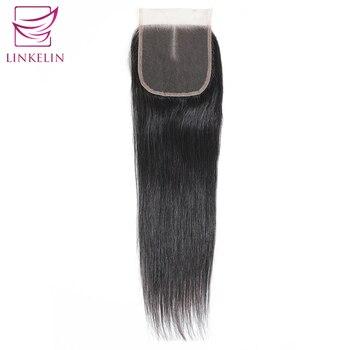 цена на LINKELIN HAIR Peruvian Straight Hair Closure Middle/Free/Three Part Lace Closure Hand Tied Remy Human Hair Extension