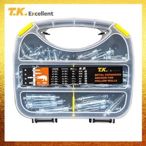 T.K. Отличный полый настенный анкерный набор сталь и Q195 материалы изделия стальной плоский хвостовый полый анкер 8*22 4*52 136 шт