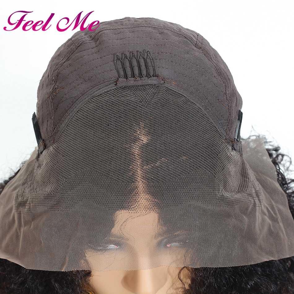 Afro peruwiański krótki perwersyjne kręcone Bob peruki koronki przodu włosów ludzkich peruki z dziecięcymi włosami dla kobiet nie Remy średni stosunek 130% koronkowa peruka