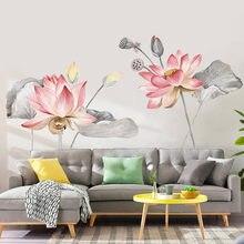 Etiqueta engomada de la pared del vinilo de la flor del loto del estilo chino cartel Vintage del dormitorio del baño decoración del hogar pegatina Mural arte para la sala de estar