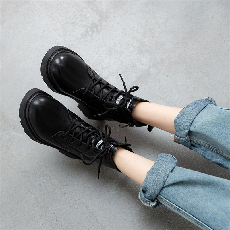 Meotina Genuine Leather Platform Mid Heel Short Boots Women Motorcycle Boots Shoes Lace Up Zipper Block Heels Ankle Boots Black