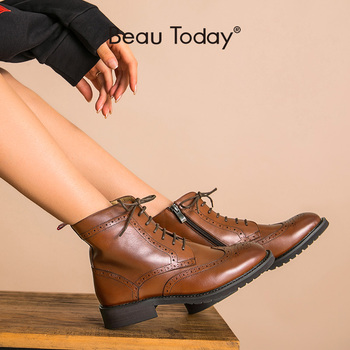 BeauToday Ankle Boots Brogue Women Calfskin Leather Wingtip Round Toe Lace-Up Zip Autumn Winter Lady Shoes Handmade 03070 beautoday fashion ankle boots women calfskin leather round toe front zipper closure autumn winter lady shoes handmade 03808