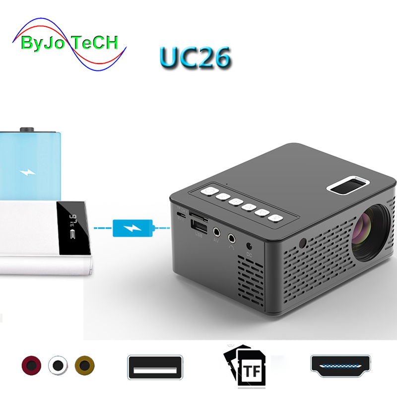 UNIC NEW UC26 LED Portable Pocket Projector Support AV TF Card USB HDMI 5V-2A Power in Piano lacquern 1080P