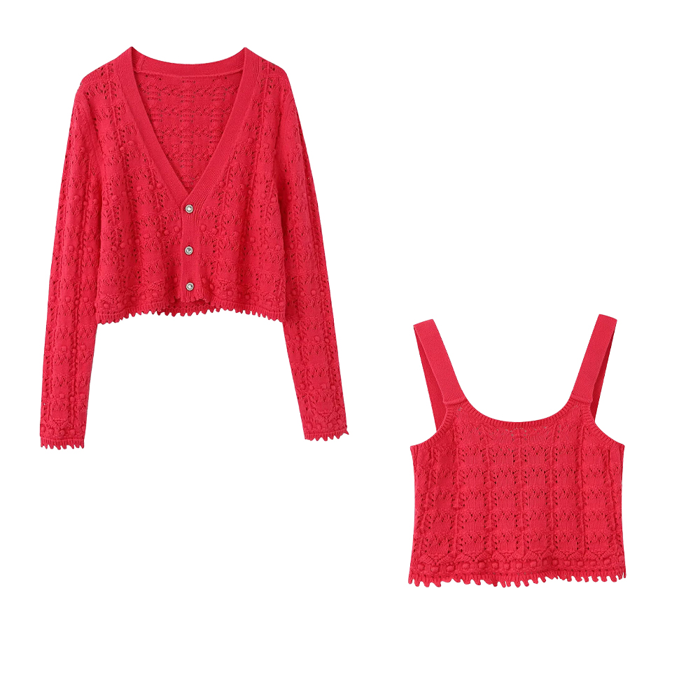 2020 Summer New Women 's Solid Red Cardigan Knitted Sweater Casual Two Pieces Set Fashion Streetwear Sexy Female Short Tops