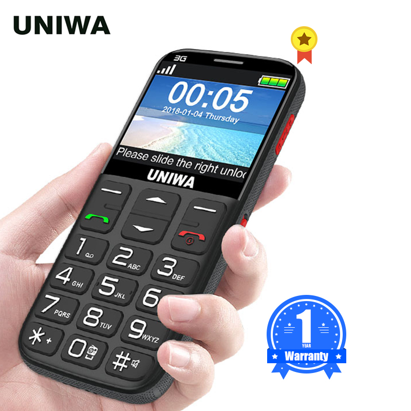 UNIWA V808G Strong Torch Push-Button Loud Cellphone Big SOS 3G English Russian Keyboard 10 Days Standby 3G WCDMA Senior Mobile