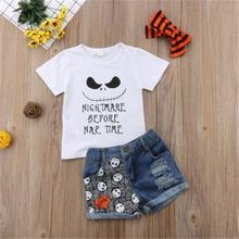 2019 Hot New Halloween Clothes Toddler Baby Girl Halloween Devil Short Sleeve Tops+Denim Shorts+Hairband Outfits Clothes цены онлайн
