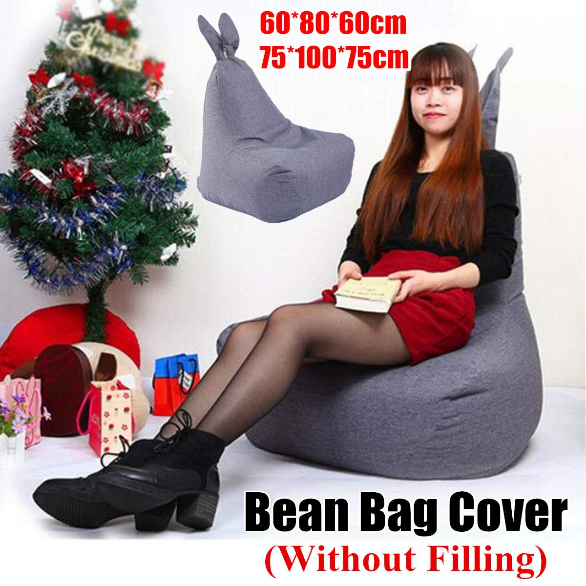 Large Small Lazy Rabbit Shape Oxford Cloth Sofas Cover Chairs without Filler Lounger Seat Bean Bag Pouf Puff Couch Tatami