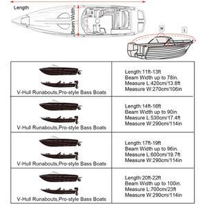 Image 5 - 14 22ft Trailerable 210D סירת כיסוי עמיד למים אפור דגים סקי V גוף Sunproof UV מגן סירת מרוץ סירת עגינה כיסוי d35
