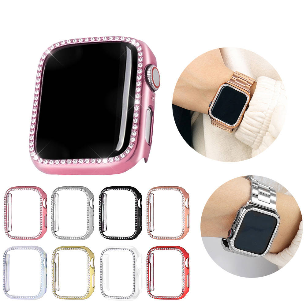 Case-Cover Protective-Bumper Watch-Band Apple Diamond 44mm 38mm 40mm for 42mm Crystal