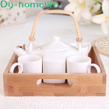 Nordic Creative Bamboo Wood Tray White Ceramic Coffee Tea Set Restaurant Home Simple Japanese-style Teapot Tea Cup Coffee Set(China)