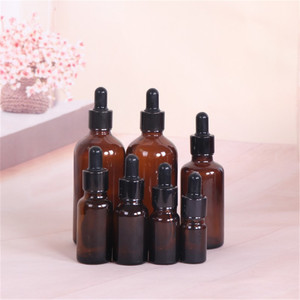 Hot Sale 5 -100ml Amber Glass Dropper Bottle Jars Vials With Pipette For Cosmetic Perfume Essential Oil Bottles