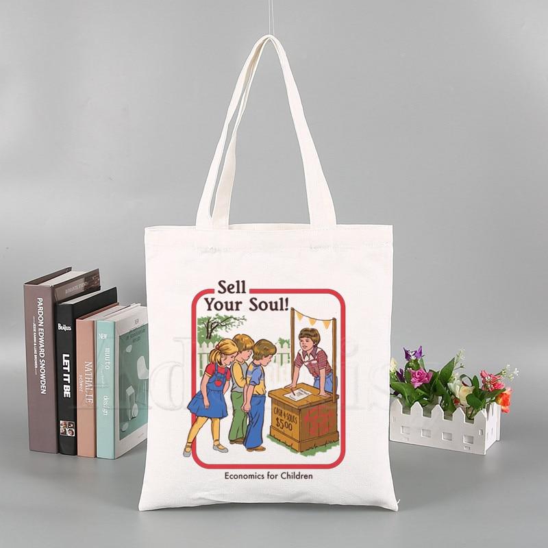 Sell Your Soul New Summer Shoulder Bag Cartoon Print Casual Female Crossbody Bag Fun Female Canvas Harajuku Ulzzang Bags