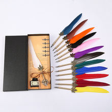 European retro leaf pole feather pen + five replacement nib one bottle of ink