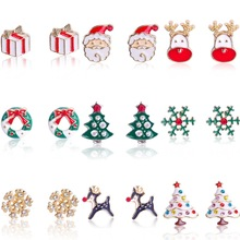 1 Pair Christmas Ornaments  Alloy Snowflake Deer Santa Claus Stud Earring Decoration Gifts for Women 2020