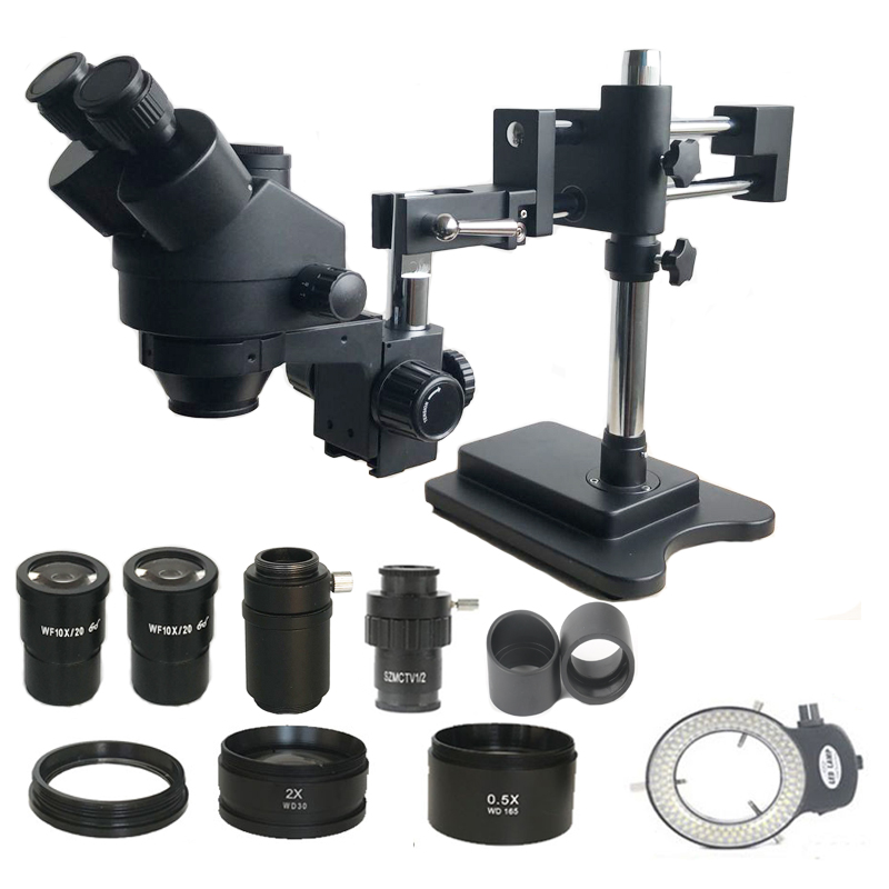 Ship From Spain 3.5X-90X Simul-focal Double Arm Trinocular Stereo Microscope SMD Soldering 0.5X 2.0X Objective Lens Barlow