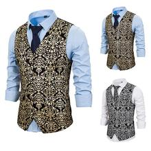 PUIMENTIUA Slim Fit Single Breated  Male Gold Steampunk Wedding Sleeveless Vests For Men Buttons Waistcoat