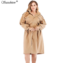 Plus Size 4XL Autumn Trench Coat For Women 2019 Winter Female Fashion Single-breasted Cotton Loose Windbreaker Overcoat Clothing floral trench coat women autumn and winter fashion runway plus size vintage royal embroidery lady woolen overcoat female m 4xl
