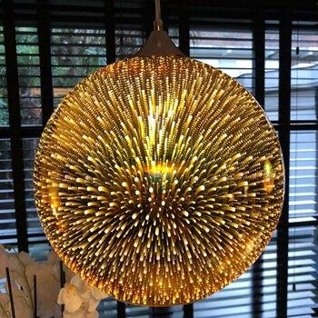 LukLoy Modern Pendant Lights 3D Glass Copper Gold Silver Hanging Lamp Bar Living Room Kitchen Dining Room Luminaire Light Glass