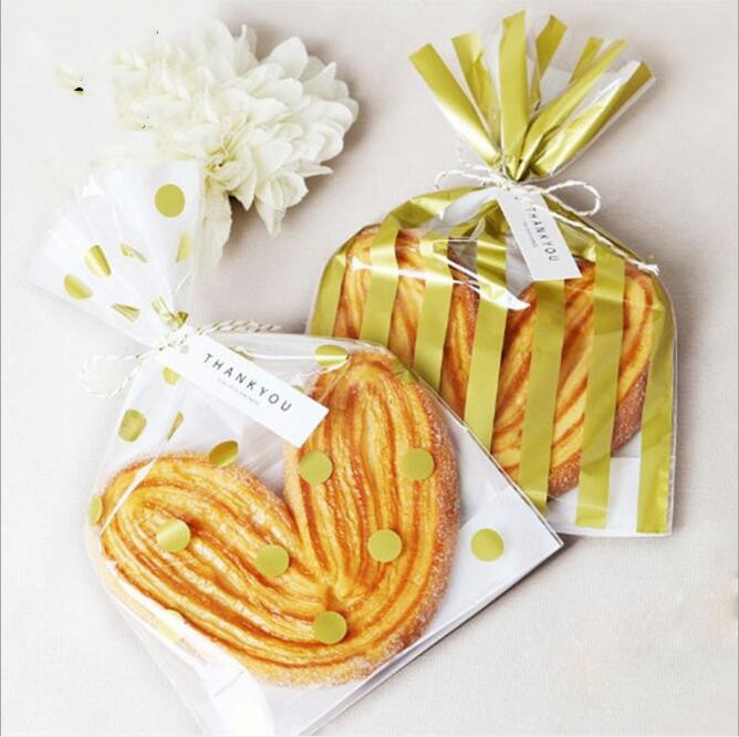 100pcs Gold Stripe Plastic Bags Transparent Bag For Toast Bread Food Packaging Bag Baking Christmas Party Favor Bags in Gift Bags Wrapping Supplies from Home Garden