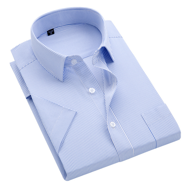 Summer S~8xl men's striped short sleeve dress shirt square collar non-iron regular fit anti-wrinkle  pocket  male social shirt 2