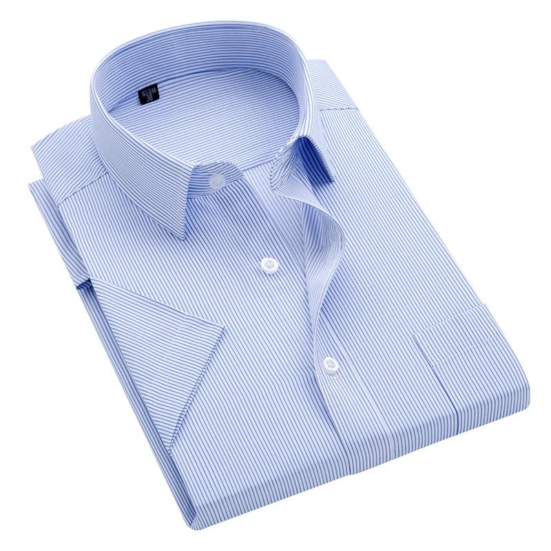 Summer S~8xl men's striped short sleeve dress shirt square collar non-iron regular fit anti-wrinkle pocket male social shirt(China)