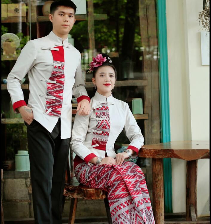 Autumn Winter Ethnic Clothing thick Pure cotton stand collar Costume long sleeve gray Red Dai Unique Suits Asian Hotel Uniform